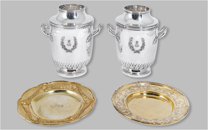A pair of French silver wine coolers & English silver-gilt dishes