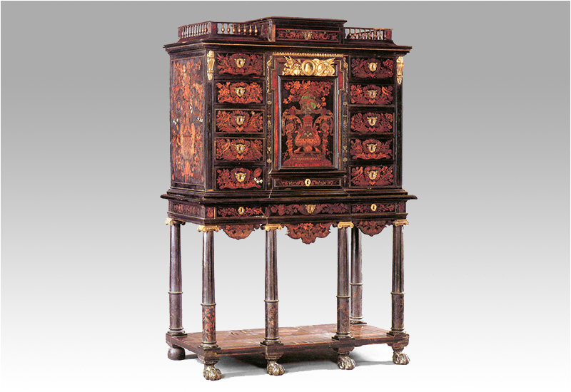 Pierre Gole - Marquetry cabinet on stand